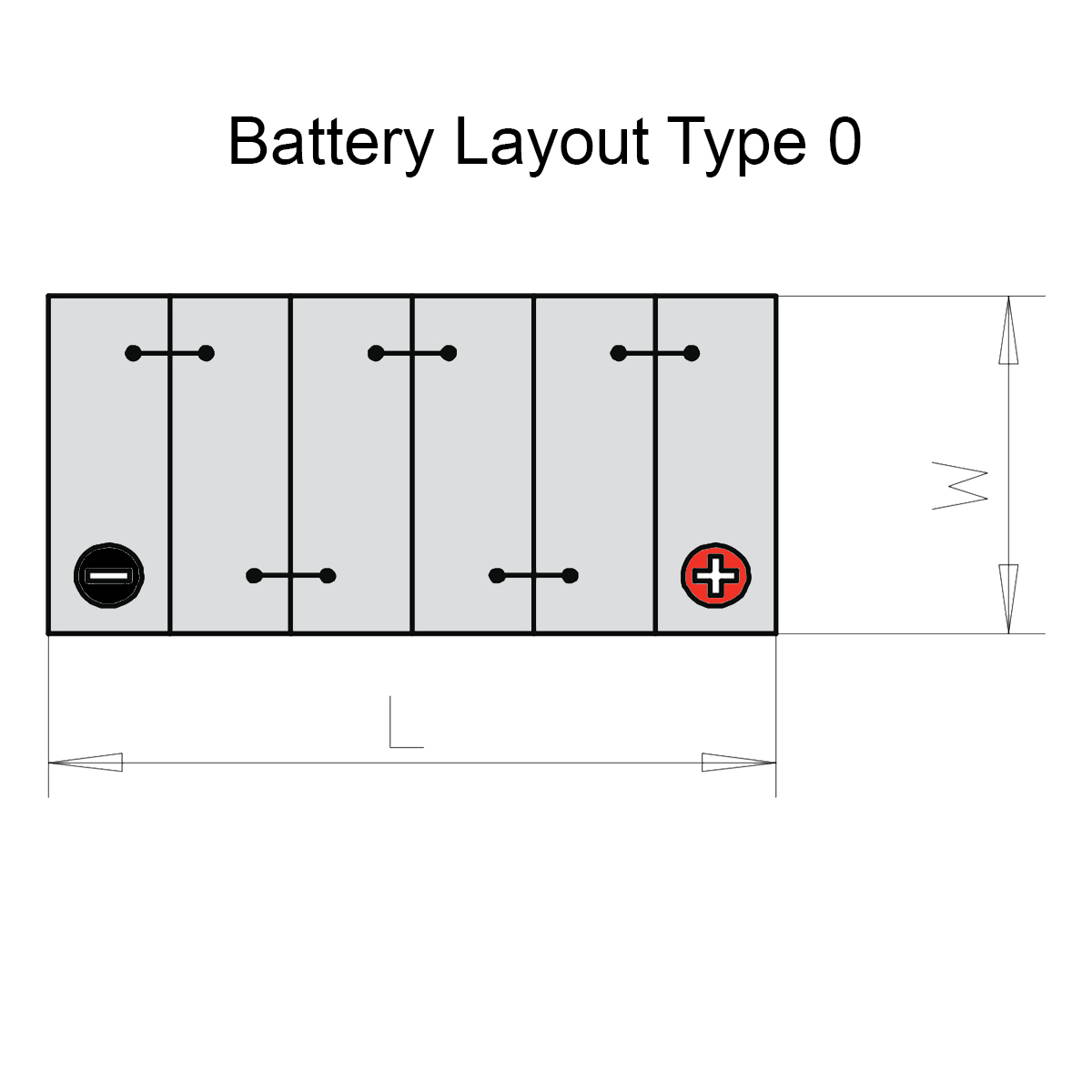 Duracell 005L / DA60 Advanced Car Battery Battery Layout