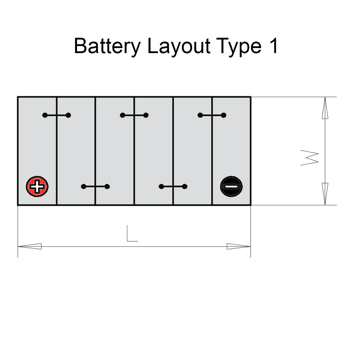 Duracell 043 / DA45L Advanced Car Battery Battery Layout